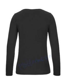 B&C 150 longsleeve blanco t-shirt met lange mouw dames vrouw achterkant black zwart