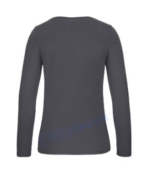 B&C 150 longsleeve blanco t-shirt met lange mouw dames vrouw achterkant dark grey antraciet
