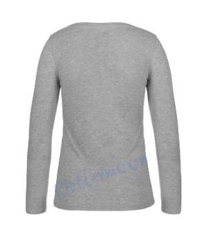 B&C 150 longsleeve blanco t-shirt met lange mouw dames vrouw achterkant sport grey grijs