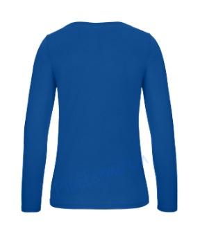 B&C 150 longsleeve blanco t-shirt met lange mouw dames vrouw achterkant sport royal blue