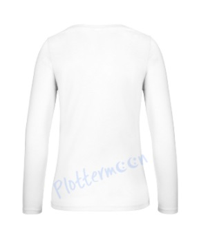 B&C 150 longsleeve blanco t-shirt met lange mouw dames vrouw achterkant white