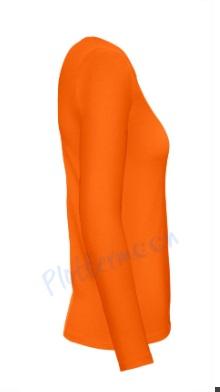 B&C 150 longsleeve blanco t-shirt met lange mouw dames vrouw zijkant orange