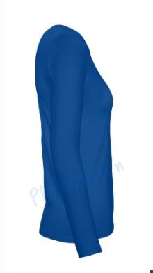 B&C 150 longsleeve blanco t-shirt met lange mouw dames vrouw zijkant royal blue