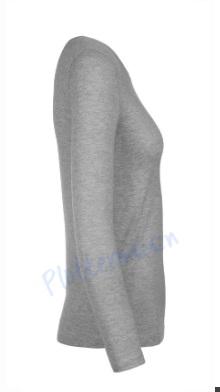 B&C 150 longsleeve blanco t-shirt met lange mouw dames vrouw zijkant sport grey grijs