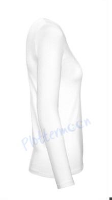 B&C 150 longsleeve blanco t-shirt met lange mouw dames vrouw zijkant white