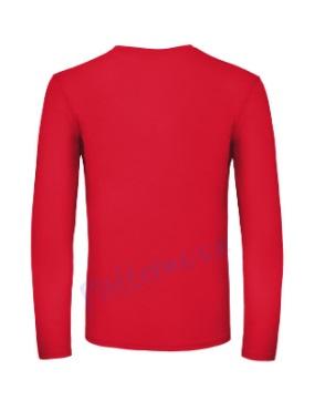 B&C 150 longsleeve blanco t-shirt met lange mouw men achterkant heren red