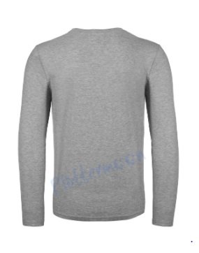 B&C 150 longsleeve blanco t-shirt met lange mouw men achterkant heren sport grey