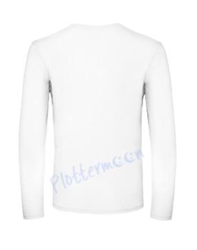 B&C 150 longsleeve blanco t-shirt met lange mouw men achterkant heren white