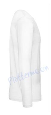B&C 150 longsleeve blanco t-shirt met lange mouw men zijkant heren white