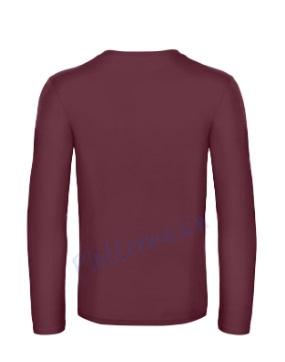 B&C 190 longsleeve blanco t-shirt met lange mouw achterkant men heren burgundy