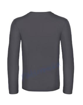 B&C 190 longsleeve blanco t-shirt met lange mouw achterkant men heren dark grey