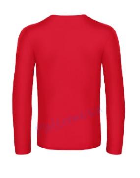B&C 190 longsleeve blanco t-shirt met lange mouw achterkant men heren red
