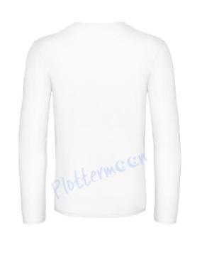 B&C 190 longsleeve blanco t-shirt met lange mouw achterkant men heren white