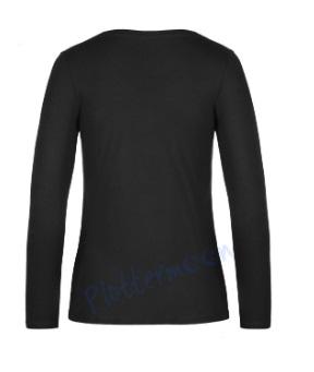 B&C 190 longsleeve blanco t-shirt met lange mouw dames vrouw achterkant black zwart