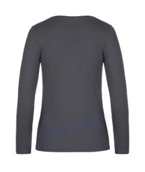B&C 190 longsleeve blanco t-shirt met lange mouw dames vrouw achterkant dark grey antraciet