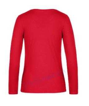 B&C 190 longsleeve blanco t-shirt met lange mouw dames vrouw achterkant red rood