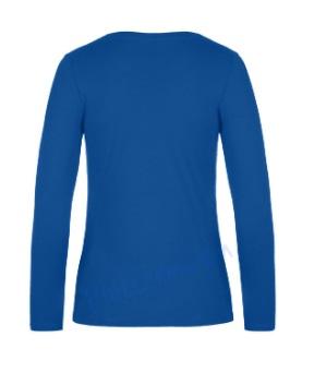 B&C 190 longsleeve blanco t-shirt met lange mouw dames vrouw achterkant royal blue