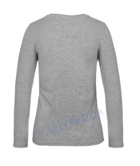 B&C 190 longsleeve blanco t-shirt met lange mouw dames vrouw achterkant sport grey grijs