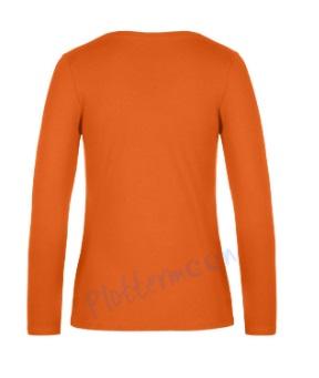 B&C 190 longsleeve blanco t-shirt met lange mouw dames vrouw achterkant urban orange oranje