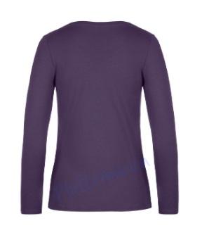 B&C 190 longsleeve blanco t-shirt met lange mouw dames vrouw achterkant urban purple paars