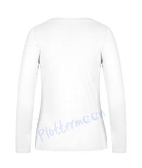 B&C 190 longsleeve blanco t-shirt met lange mouw dames vrouw achterkant white wit