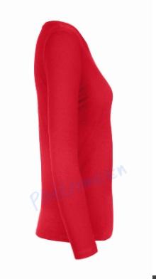 B&C 190 longsleeve blanco t-shirt met lange mouw dames vrouw zijkant red rood