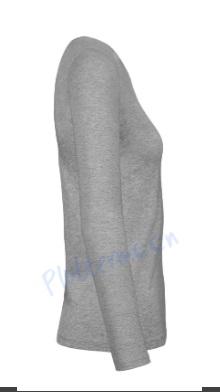 B&C 190 longsleeve blanco t-shirt met lange mouw dames vrouw zijkant sport grey grijs