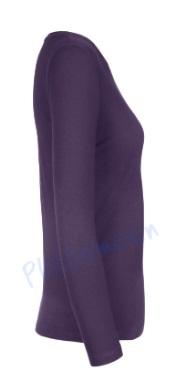 B&C 190 longsleeve blanco t-shirt met lange mouw dames vrouw zijkant urban purple paars