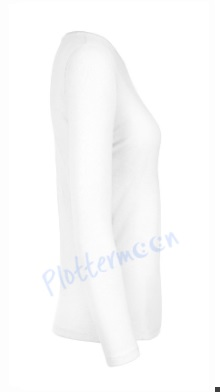 B&C 190 longsleeve blanco t-shirt met lange mouw dames vrouw zijkant white wit