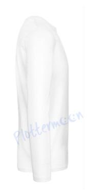 B&C 190 longsleeve blanco t-shirt met lange mouw zijkant men heren white