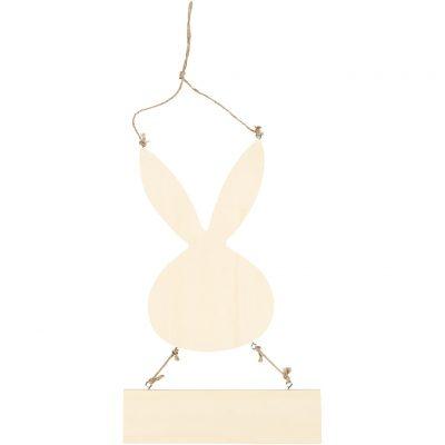 Houten konijnen bord