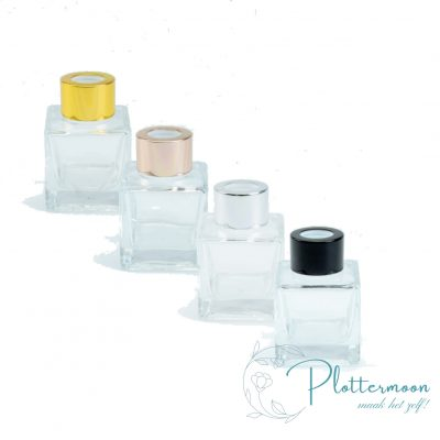 Blanco vierkant transparant geurflesje