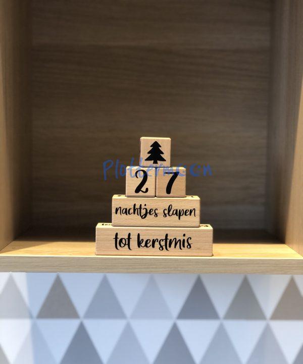 Houtenblokken set tot kerstmis plottermoon