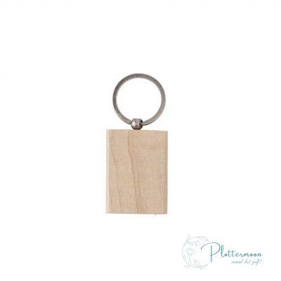 Blanco houten sleutelhanger rechthoek