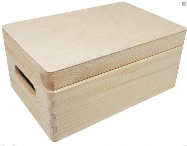 blanco houten opbergkist met klepdeksel