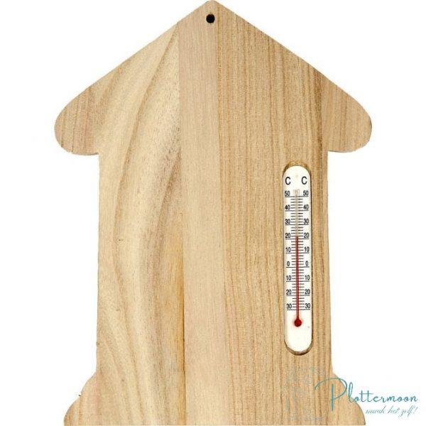 Houten thermometer huisje